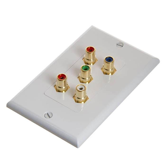 RCA Wall Plate For Component Video And Audio 5-RCA