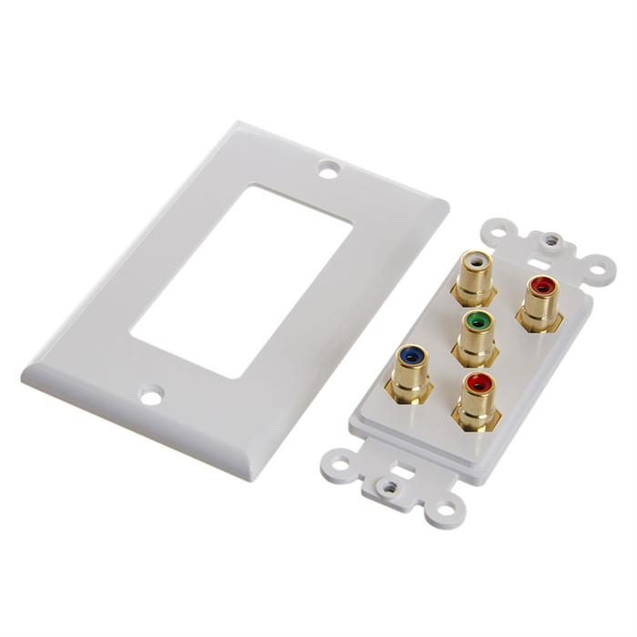 Cmple - 5 RCA Audio Video Wall Plate - Gold Plated (RGB + Audio) Component Video 1080P Full HD Compatible Port/AV Component Video + 2 RCA Stereo Audio Combo Port Insert Jack – White