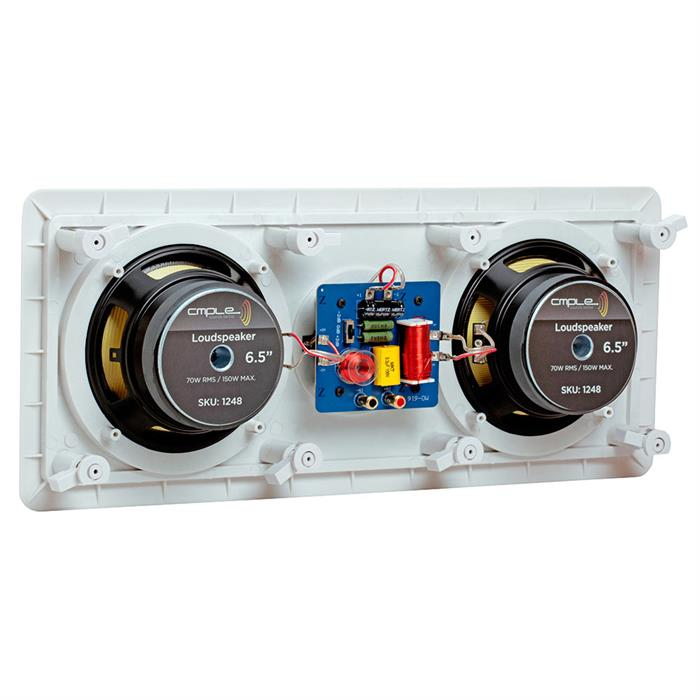 "Dual Center Channel In-Wall 6.5"" Rectangular Speaker - Over-sized magnet improves bass and increases sensitivity"