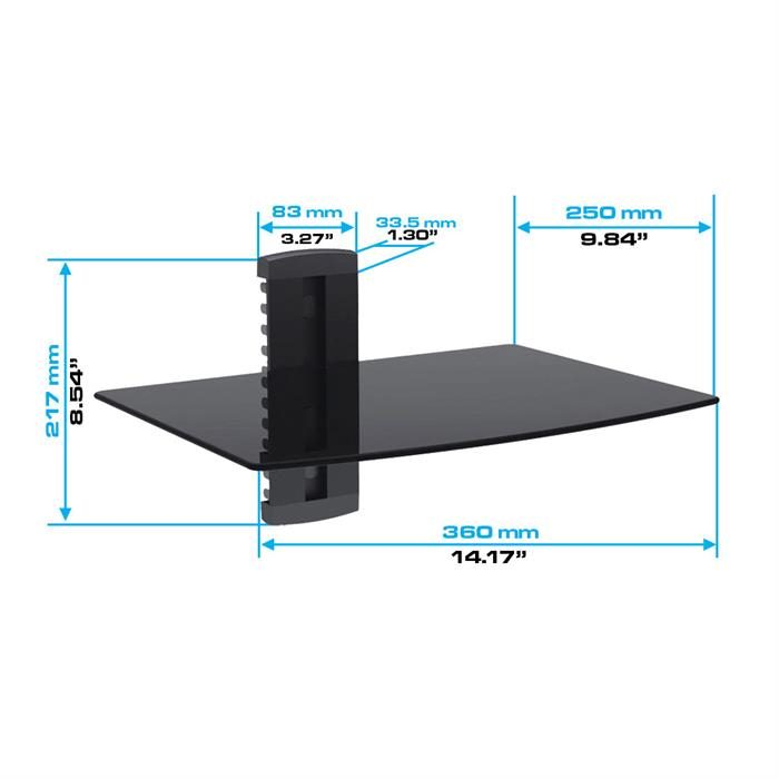 Dimensions - 1 Floating Shelf with Strengthened Tempered Glass