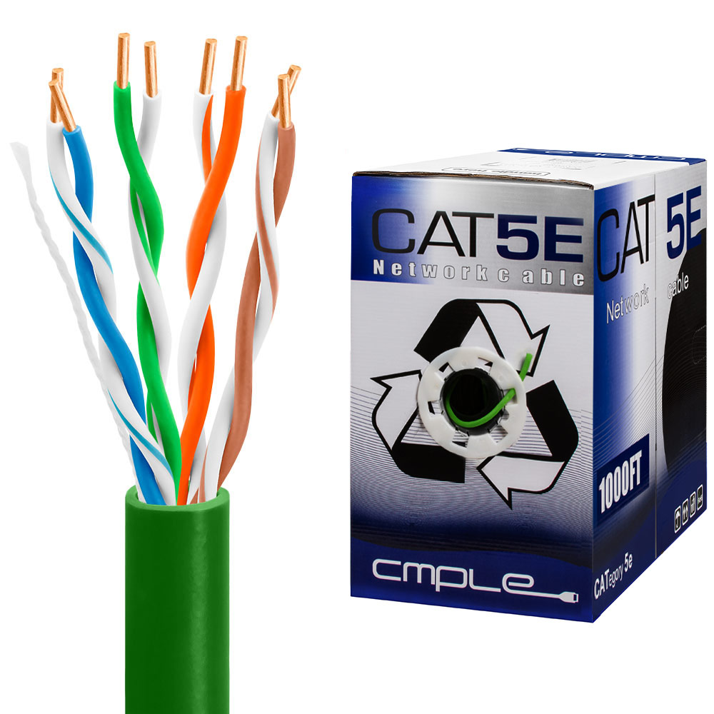 Cat5e Bulk Ethernet Cable 24awg Cca 350mhz 1000feet Green Twisted Pair Wiring Utp Cmr Riser 1000ft Box
