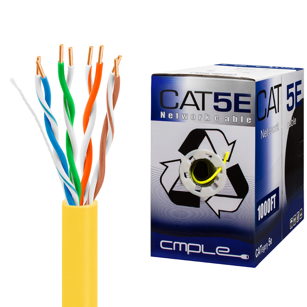 CAT5e 1000FT UTP Cable Solid 24AWG Network Ethernet LAN Bulk Wire RJ45 Yellow