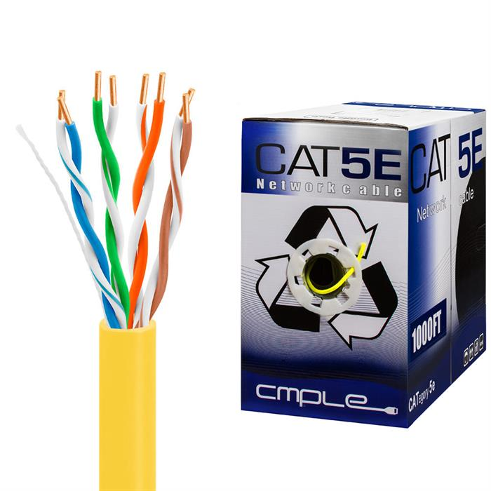 UTP CMR Cat5e Riser Yellow Cable 1000ft Box