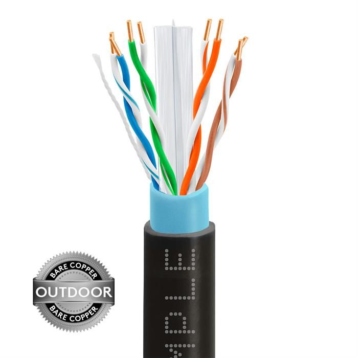 Outdoor CAT6 1000ft Bare Copper LAN Cable 23AWG Bulk Network Wire, Black