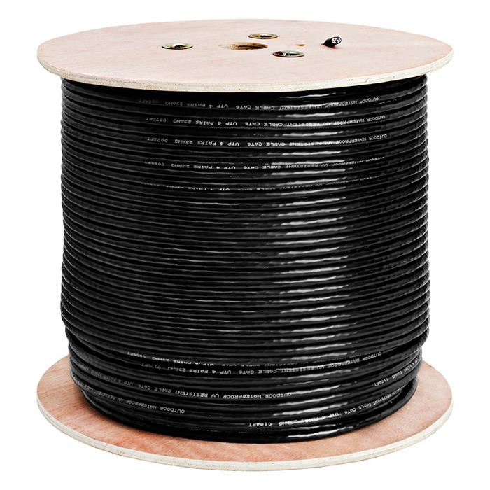 550Mhz Outdoor Bare Copper Cat6 Black Cable 1000 Feet Box