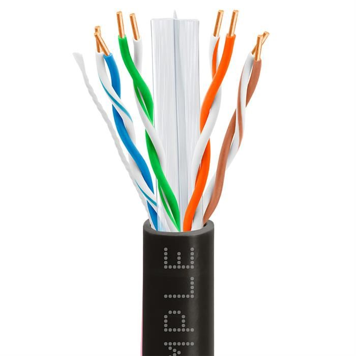 CAT6 1000 Feet CCA Ethernet Cable 23AWG Bulk Network Wire, Black