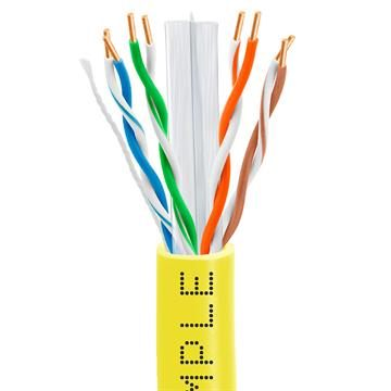CAT6 CCA Ethernet Cable 23AWG Bulk Network Wire, 1000 Feet Yellow