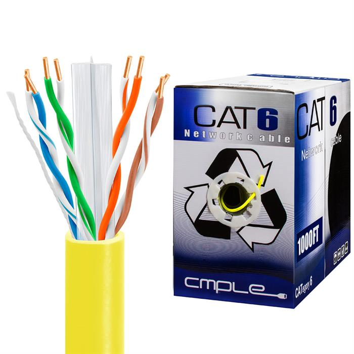 550Mhz CCA Cat6 Yellow Cable 1000ft Box