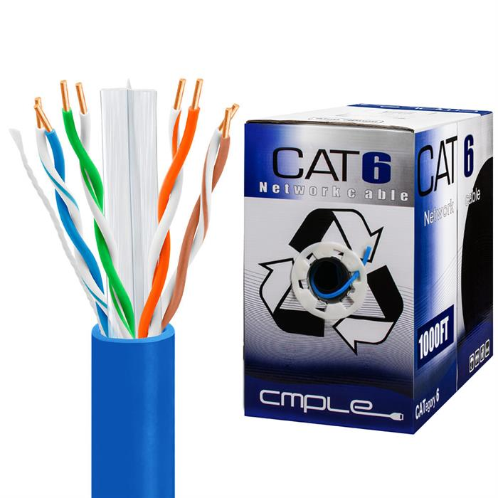 550Mhz CCA Cat6 Blue Cable 1000ft Box