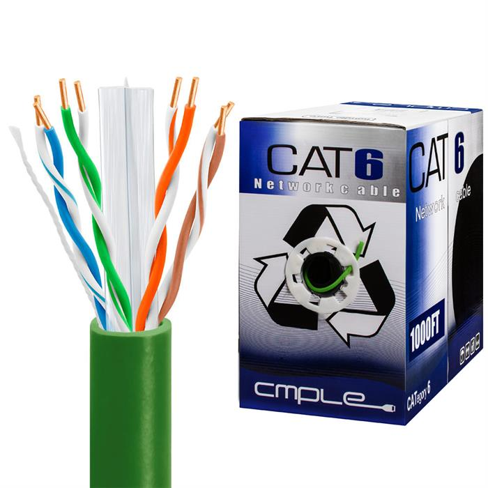 550Mhz CCA Cat6 Green Cable 1000ft Box