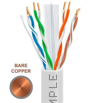 CAT6 1000 Feet Bare Copper UTP Ethernet Cable 23AWG Bulk Network Wire, White