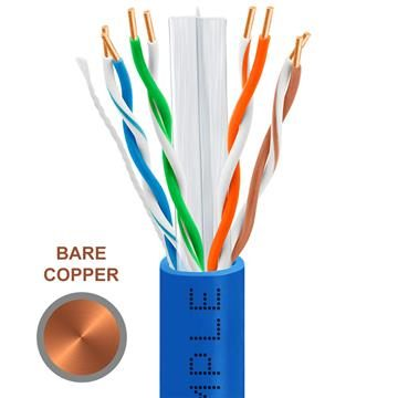 CAT6 1000 Feet Bare Copper UTP Ethernet Cable 23AWG Bulk Network Wire, Blue