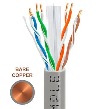 CAT6 1000 Feet Bare Copper UTP Ethernet Cable 23AWG Bulk Network Wire, Gray