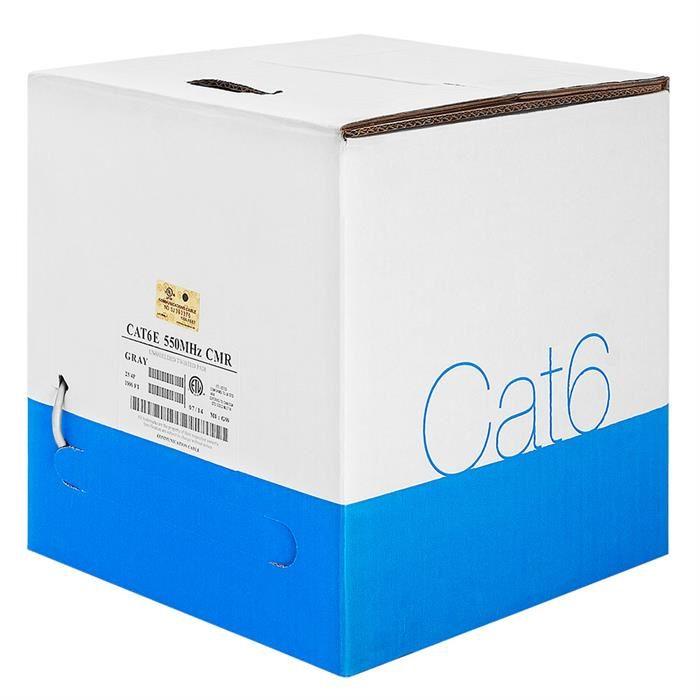 550Mhz Bare Copper UTP Cat6 Gray Cable 1000ft Box