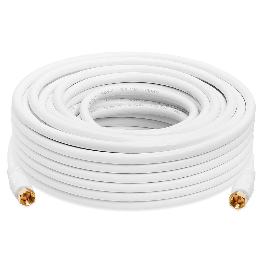 6 Feet White Cmple Digital Coaxial Cable F-Type Male RG6 Coax Digital Audio Video with F Connector Pin Satellite Cord