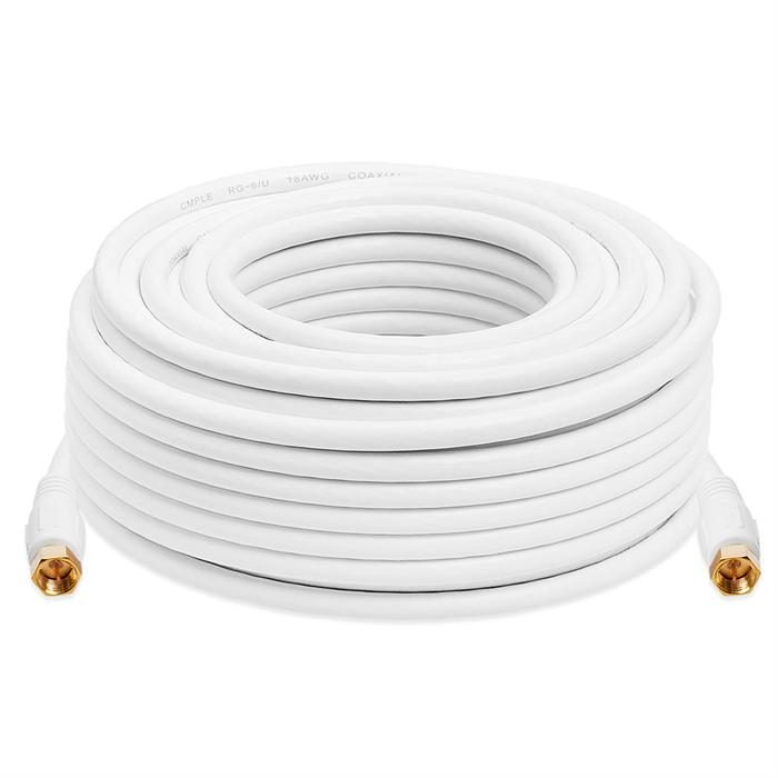 Cmple Digital Coaxial Cable F-Type Male RG6 Coax Digital Audio Video with F Connector Pin Satellite Cord - 75 Feet White