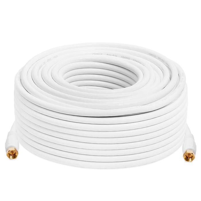 Cmple Digital Coaxial Cable F-Type Male RG6 Coax Digital Audio Video with F Connector Pin Satellite Cord - 100 Feet White