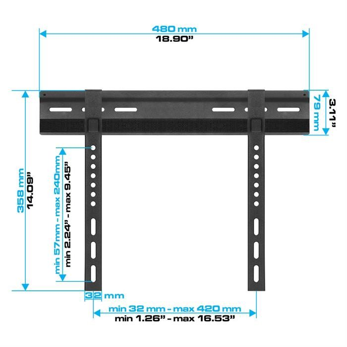"Dimensions - Super Slim Velcro-Fixed TV Wall Mount For 23""-42"" TV's"