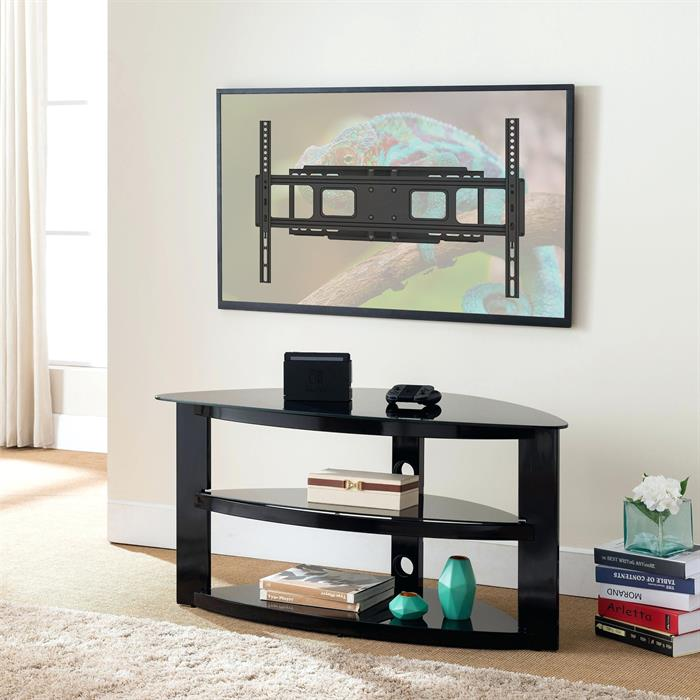 TV Wall Mount with Stand and TV Mounted