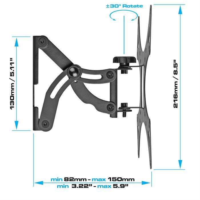 Dimensions - Tilting & Swivel TV Wall Mount
