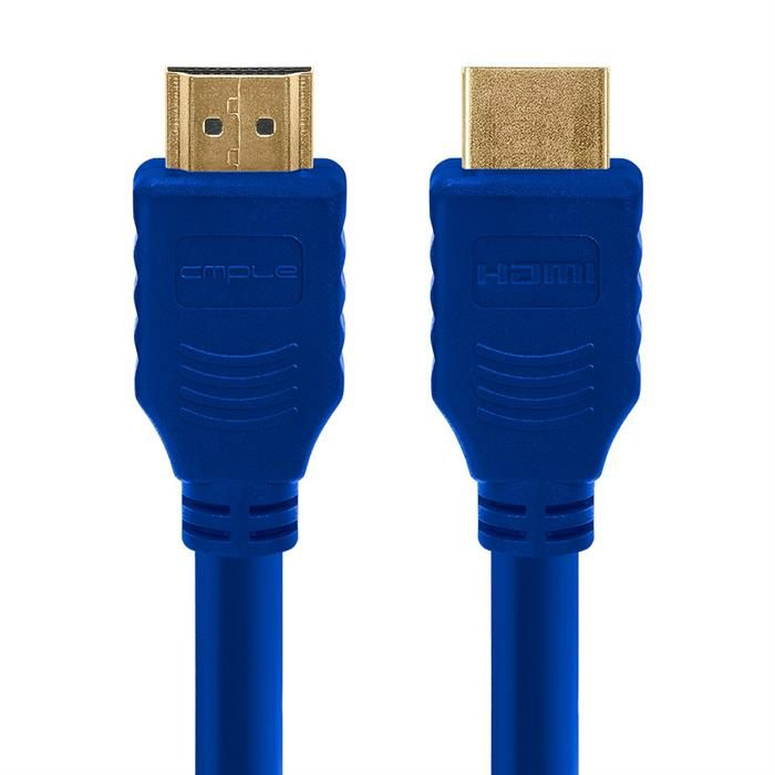 Cmple - HDMI Cable 1.5FT High Speed HDTV Ultra-HD (UHD) 3D, 4K @60Hz, 18Gbps 28AWG HDMI Cord Audio Return 1.5 Feet Blue