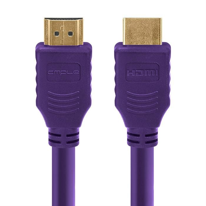 Cmple - HDMI Cable 1.5FT High Speed HDTV Ultra-HD (UHD) 3D, 4K @60Hz, 18Gbps 28AWG HDMI Cord Audio Return 1.5 Feet Purple