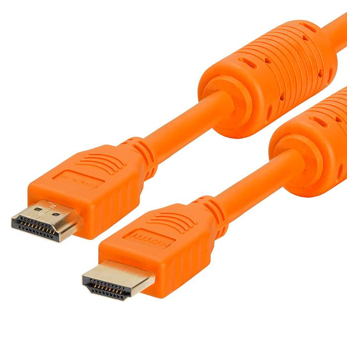 28 AWG High Speed HDMI Cable With Ferrite Cores - 1.5 Feet Orange