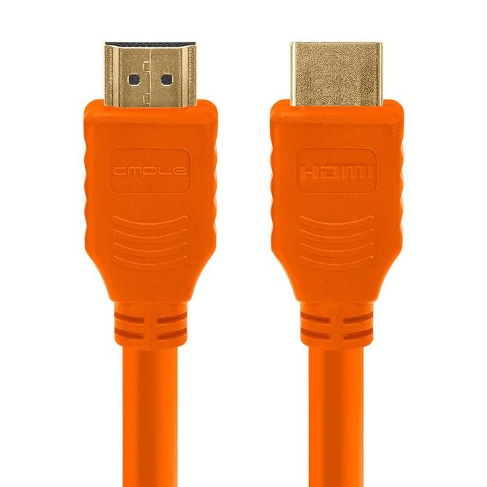 Cmple - HDMI Cable 1.5FT High Speed HDTV Ultra-HD (UHD) 3D, 4K @60Hz,18Gbps 28AWG HDMI Cord Audio Return 1.5 Feet Orange