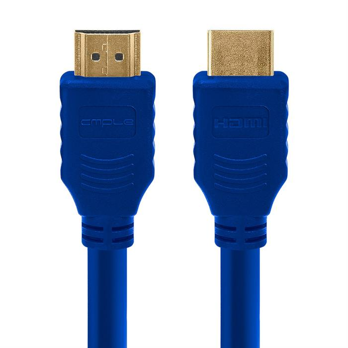 Cmple - HDMI Cable 10FT High Speed HDTV Ultra-HD (UHD) 3D, 4K @60Hz, 18Gbps 28AWG HDMI Cord Audio Return 10 Feet Blue