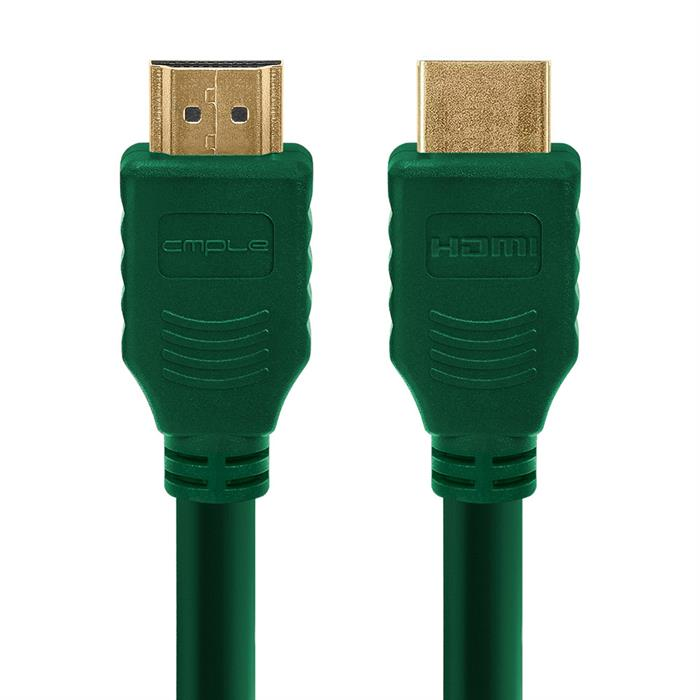 Cmple - HDMI Cable 10FT High Speed HDTV Ultra-HD (UHD) 3D, 4K @60Hz, 18Gbps 28AWG HDMI Cord Audio Return 10 Feet Green