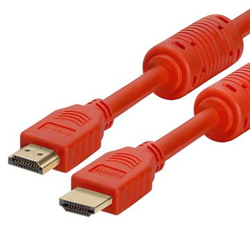 28 AWG High Speed HDMI Cable With Ferrite Cores - 6 Feet Red
