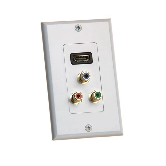 Cmple - HDMI with 3RCA Jack Component Combo Wall Plate Gold Plated HDMI 3RCA Wall Plate Video Audio Outlet Panel, White