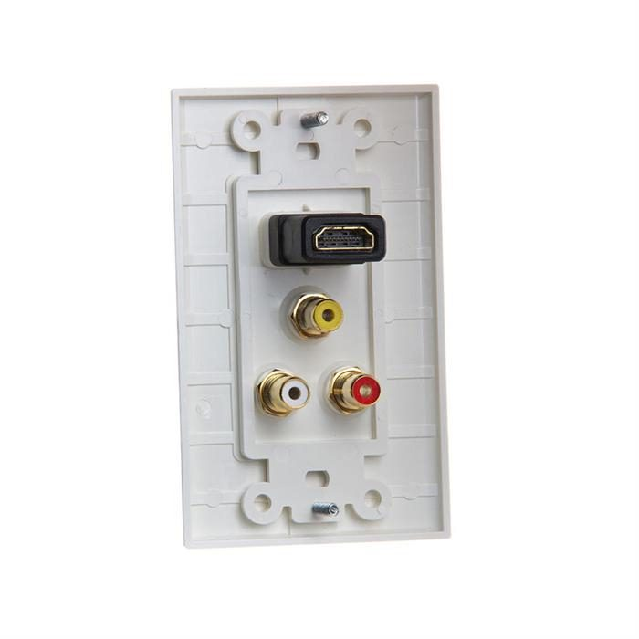 Cmple - HDMI with 3RCA Jack Composite Wall Plate Gold Plated HDMI 3RCA Wall Plate Video Audio Outlet Panel, White