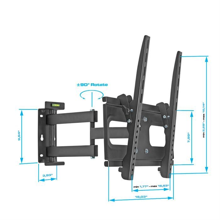 "Dimensions - Heavy-Duty Full Motion Wall Mount For 32""-55"" TVs"