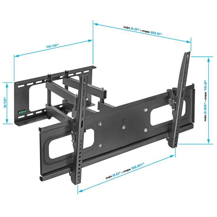 "Dimensions - Full-Motion TV Wall Mount for 37""-70"" TVs"