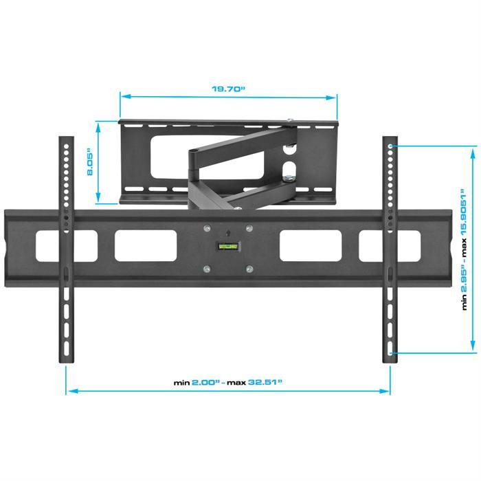 "Dimensions - Full Motion Wall Mount For 37""-70"" LCD/LED TV's"