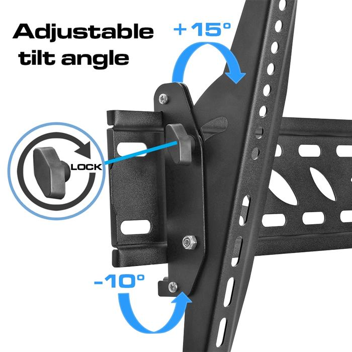 Adjustable tilt angle with lock option