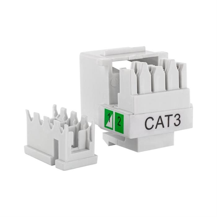 Cmple – Keystone RJ11/RJ12 Phone Jack Insert 6P4C (4-Conductor), Cat3 Keystone Jack Coupler Female to Female RJ11/12 Adapter for Telephones, Computer Networks, Routers - White