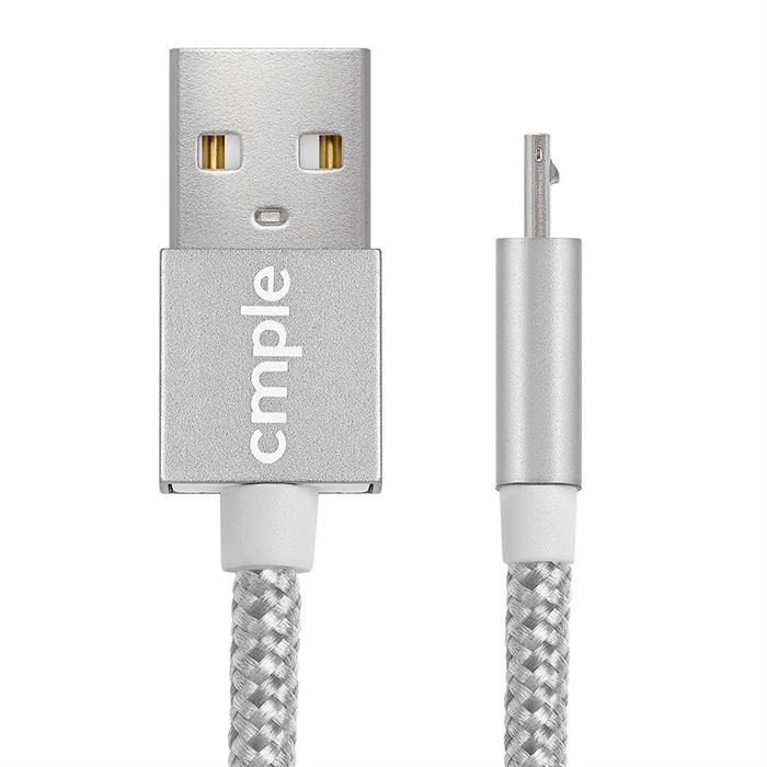 Cmple - Mobile Smart Phone Tablet cable charger - 2 in 1 Fast Charge/High Speed Data Sync & Micro USB Cable - 3 Feet Silver