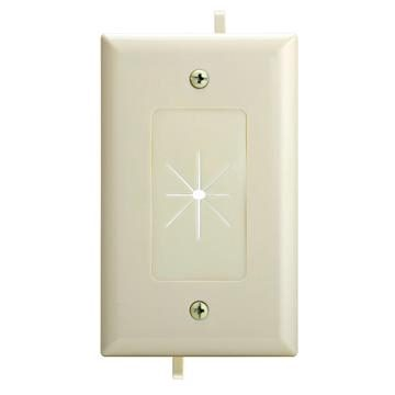 DataComm 45-0014-LA One-Gang Low-Voltage Cable Plate With Flexible Opening - Lite Almond