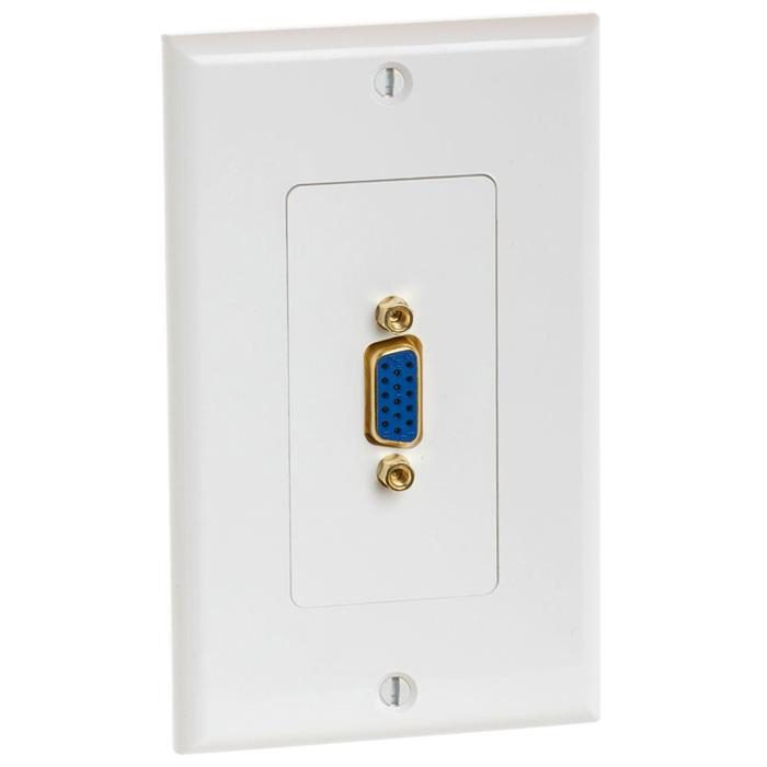 VGA 15-Pin Wall Plate With Gold-Plated Female Connector