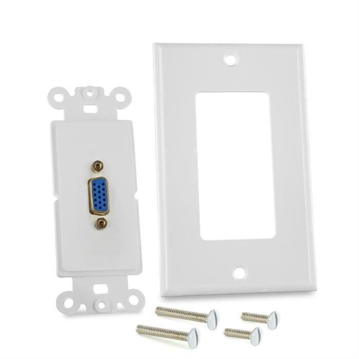 Cmple - Single Outlet 15-Pin Female VGA Wall Plate with Gold Plated Connectors, White VGA Wallplate with Matching Screws