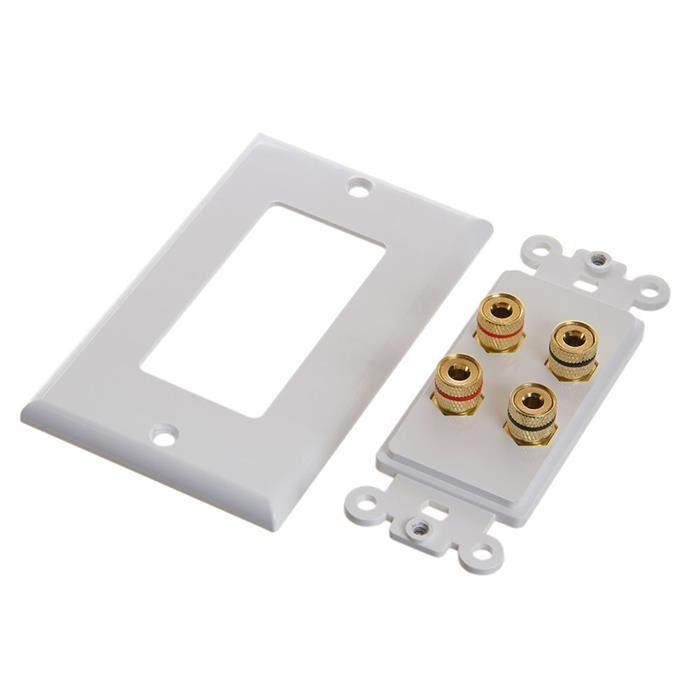 Cmple - Speaker Wall Plate (Banana Plug Wall Plate) Speaker Wire Wallplate for 2 Speakers - White Decora Style