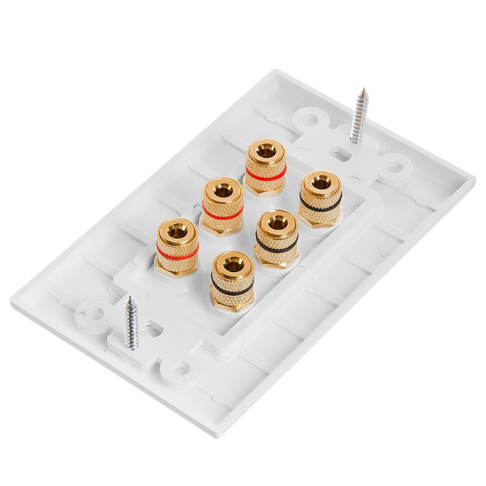 Cmple - Speaker Wall Plate (Banana Plug Wall Plate) Speaker Wire Wallplate on