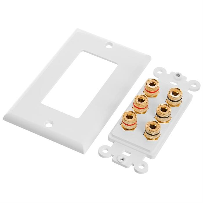 Cmple - Speaker Wall Plate (Banana Plug Wall Plate) Speaker Wire Wallplate for 3 Speakers - White Decora Style