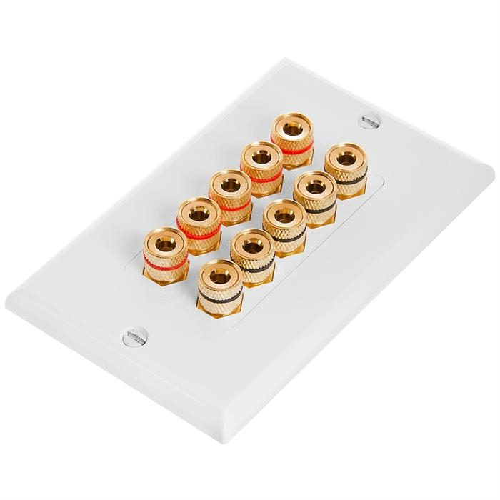 Speaker Wall Plate With Banana Binding Posts - Five Speakers