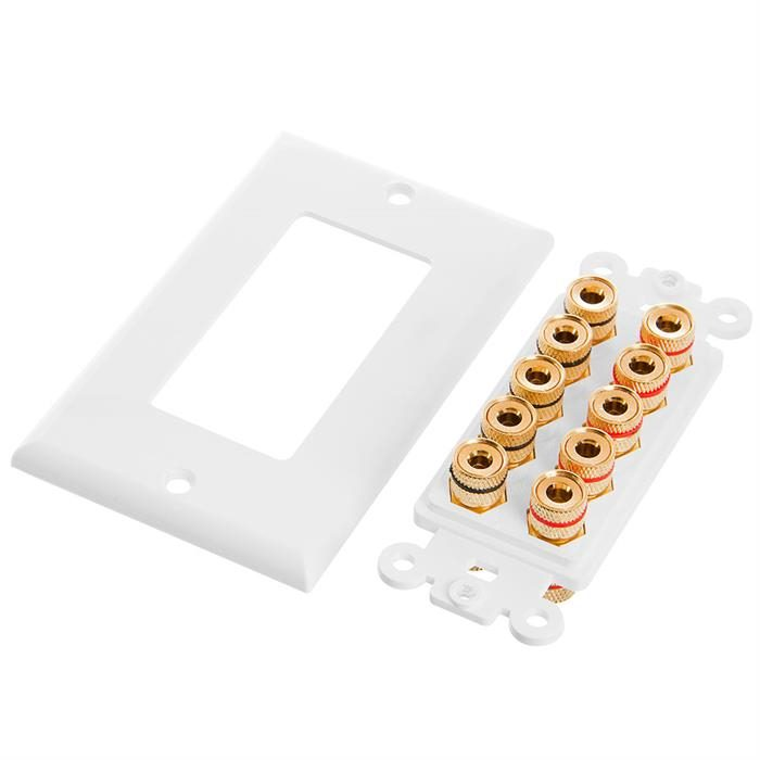 Cmple - Speaker Wall Plate (Banana Plug Wall Plate) Speaker Wire Wallplate for 5 Speakers - White Decora Style