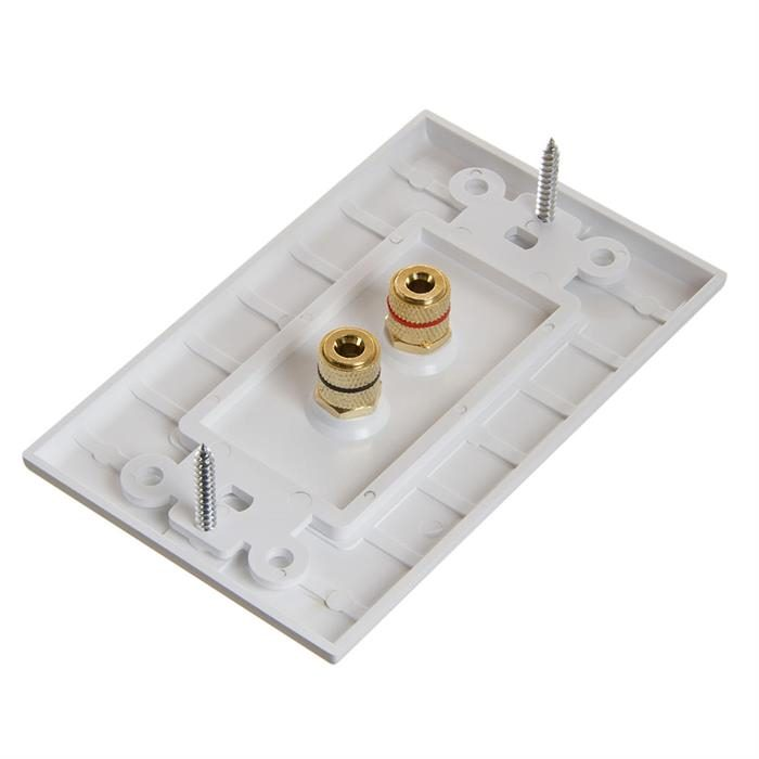 Cmple - Speaker Wall Plate (Banana Plug Wall Plate/Speaker Wire Wall Plate) for 1 Speaker - White Decora Style