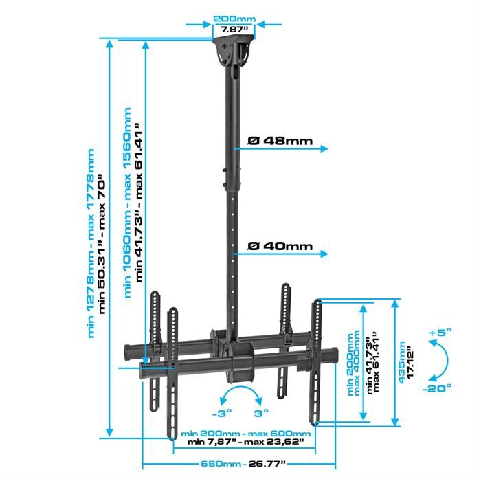"Dimensions - Ceiling TV Mount For Double 37""-70"" TVs"