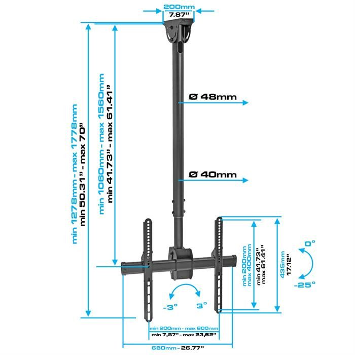 "Dimensions - Ceiling TV Mount For 37""-70"" LED/LCD/Plasma TV's"